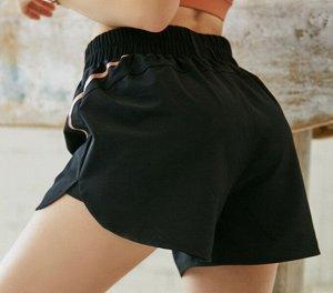 Женские спортивные шорты с высокой посадкой на резинке, цвет черный/абрикос