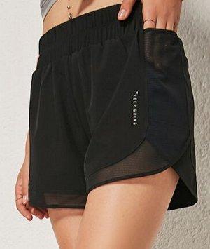 """Женские спортивные шорты на резинке, сетчатые вставки/надпись """"keep going"""", цвет черный"""