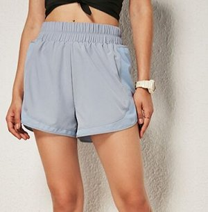 """Женские спортивные шорты на резинке, сетчатые вставки/надпись """"keep going"""", цвет серо-голубой"""