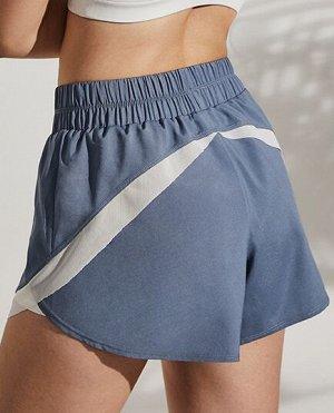Женские спортивные шорты на резинке, декор сетчатые вставки, цвет серо-синий/белый