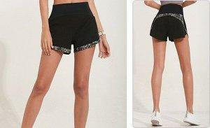 Женские спортивные шорты на резинке, светоотражающая окантовка, цвет черный