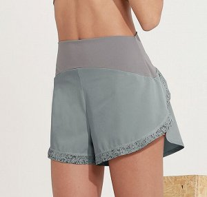Женские спортивные шорты на резинке, светоотражающая окантовка, цвет латте/серо-голубой