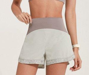 Женские спортивные шорты на резинке, светоотражающая окантовка, цвет латте/оливковый