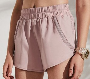 Женские спортивные шорты на резинке, сетчатые вставки, цвет розовый