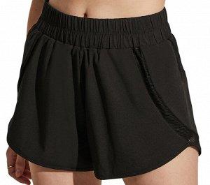 Женские спортивные шорты на резинке, сетчатые вставки, цвет черный
