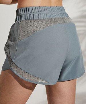 Женские спортивные шорты на резинке, сетчатые вставки, цвет серо-голубой