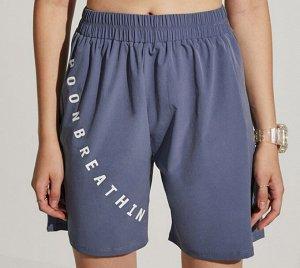 """Женские свободные шорты на резинке, надпись""""goonbreathing"""", цвет пастельно-синий"""