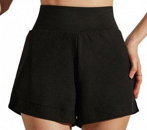 """Женские спортивные шорты с высокой посадкой на широкой  резинке, принт """"dryfit"""", цвет черный"""