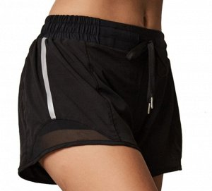Женские спортивные шорты на завязках , принт лампасы /сетчатая окантовка, цвет черный