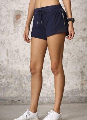 Женские спортивные шорты на завязках , принт лампасы /сетчатая окантовка, цвет темно-синий