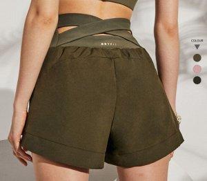 """Женские спортивные шорты с высокой посадкой на широкой  резинке, принт """"dryfit"""", цвет хаки"""