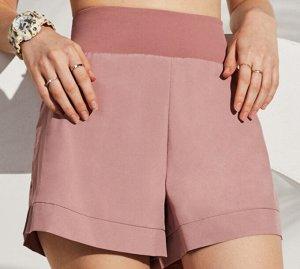 """Женские спортивные шорты с высокой посадкой на широкой  резинке, принт """"dryfit"""", цвет нежно-розовый"""