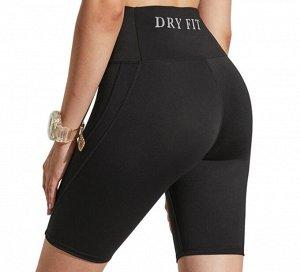 """Женские велосипедки с высокой посадкой, надпись""""dry fit"""", цвет черный"""