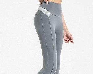Женские спортивные леггинсы с широкой резинкой, декор вырезы/светлые вставки, цвет серый