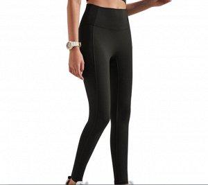 Женские спортивные леггинсы с широкой резинкой, цвет черный