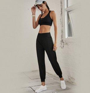 Женские спортивные джоггеры, декор белые полоски, цвет черный