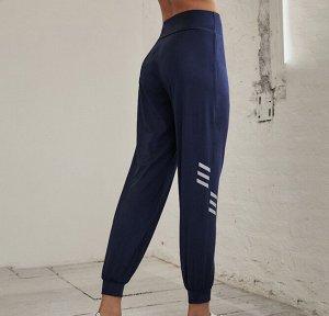 Женские спортивные джоггеры, декор белые полоски, цвет синий