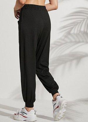 Женские спортивные джоггеры с средней посадкой, цвет черный
