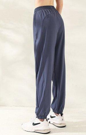 Женские спортивные джоггеры на резинке с утяжкой, цвет синий