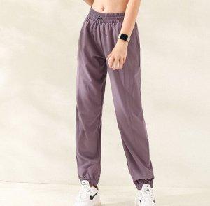 Женские спортивные джоггеры на резинке с утяжкой, цвет глициния