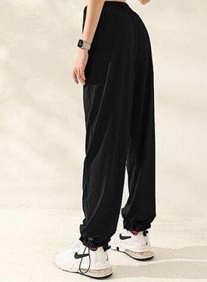 Женские спортивные джоггеры на резинке с утяжкой, цвет черный