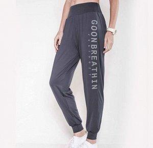 """Женские спортивные джоггеры на резинке, надпись""""goonbreathin just doit"""", цвет серый"""