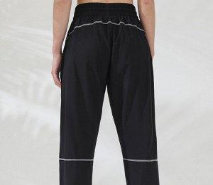 Женские спортивные джоггеры на резинке с утяжкой, контрастная отделка, цвет черный