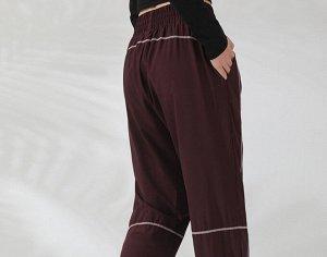 Женские спортивные джоггеры на резинке с утяжкой, контрастная отделка, цвет бордо