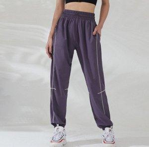 Женские спортивные джоггеры на резинке с утяжкой, контрастная отделка, цвет глициния