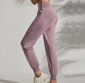 """Женские спортивные джоггеры на резинке, серебристые вставки/надпись""""sport"""", цвет розовый"""