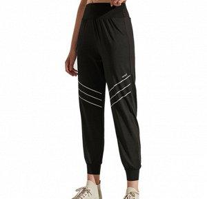 """Женские спортивные джоггеры на резинке, серебристые вставки/надпись""""sport"""", цвет черный"""