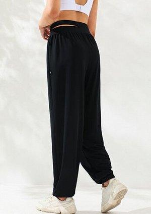 Женские спортивные джоггеры с шикорой раздвоенной резинкой, цвет черный