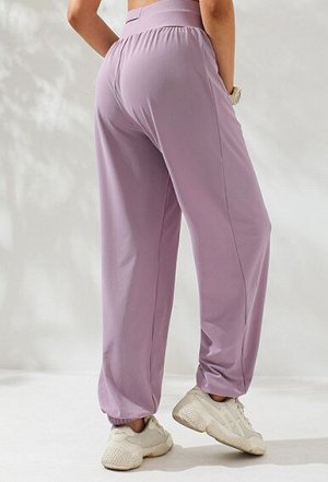 Женские спортивные джоггеры с шикорой раздвоенной резинкой, цвет глициния