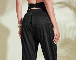 Женские спортивные джоггеры на резинке, цвет черный