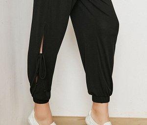 Женские штаны для йоги с разрезами на завязках, цвет черный