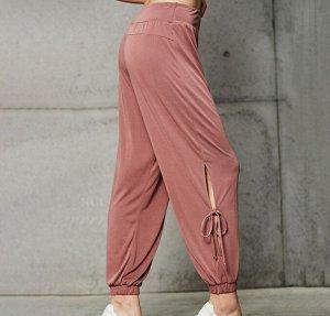 Женские штаны для йоги с разрезами на завязках, цвет розовый