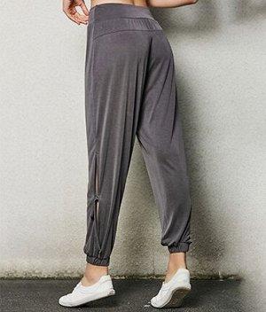 Женские штаны для йоги с разрезами на завязках, цвет серый