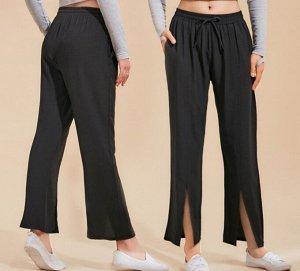 Женские широкие штаны для йоги на завязках с разрезами, цвет серый