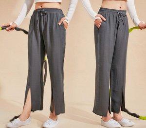 Женские широкие штаны для йоги на завязках с разрезами, цвет черный