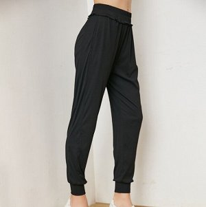 Женские штаны для йоги, декор окантовка, цвет черный