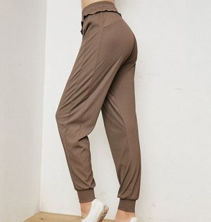 Женские штаны для йоги, декор окантовка, цвет кофейный