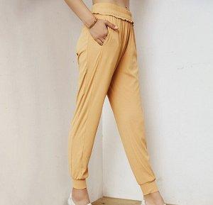 Женские штаны для йоги, декор окантовка, цвет желтый