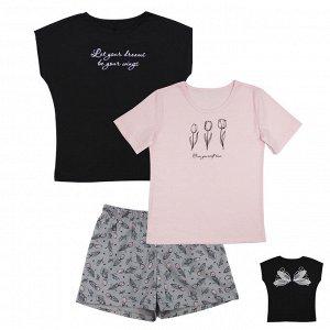 Костюм Модный костюмчик из 3 вещей. Отлично подойдет для дома или сна. Цвет как на фото. Материал: 100% хлопок, кулирка Размеры: 34, 36, 38, 40, 42 Цвет - Бледно-розовый