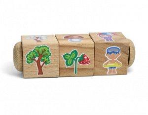 "Кубики деревянные на оси ""Времена года"" (3 кубика)"