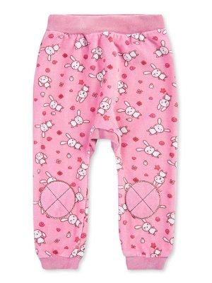 Штанишки ЦВЕТ: Розовый; РИСУНОК: Зайки; СОСТАВ: Хлопок 80%, п/э 20%; МАТЕРИАЛ: Велюр Симпатичные штанишки для малыша, изготовленные из мягкого материала - велюра. На поясе удобная широкая резинка. По