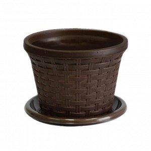 Кашпо «Ротанг» круглое 2,2л с поддоном, цвет коричневый 187 x 187 x 140 мм