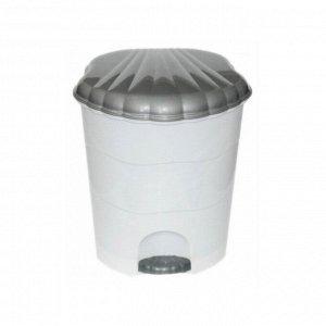 Ведро для мусора с педалью 7л, цвет бело-серый 220 x 235 x 270 мм