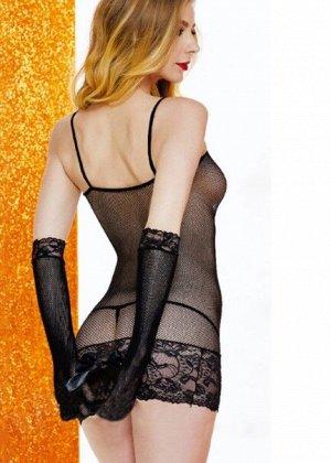 Эротическое платье с перчатками