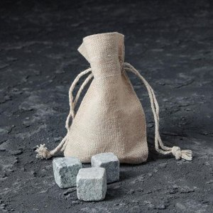 """Набор стакан и камни для виски """"Непробиваемый"""", с пулей, 3 камня в мешочке, 250 мл"""