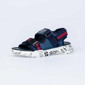 624019-21 синий туфли летние школьные Комб...